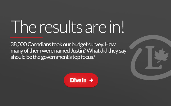 38,000 Canadians took our budget survey. How many of them were named Justin? What did they say should be the government's top focus?