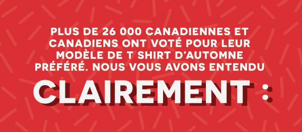 Plus de 26 000 Canadiennes et Canadiens ont voté pour leur modèle de T shirt d'automne préféré. Nous vous avons entendu clairement :